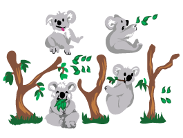 Playful Koala Bears decals pack