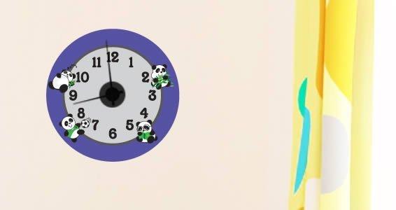 Playful Panda wall decal clock