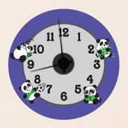 Playful Panda wall decal clock