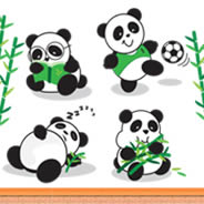 Playful Pandas wall decals pack