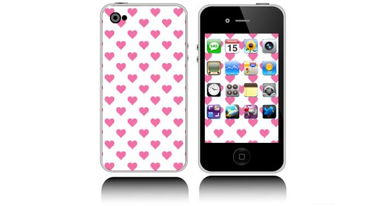 Polka Hearts skin for iPhone