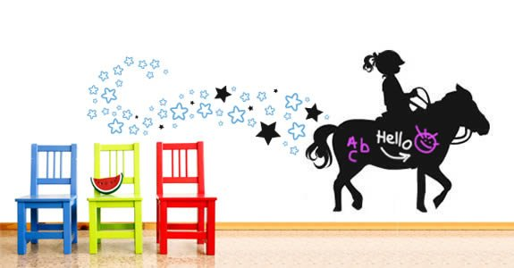 Love My Pony! chalkboard and vinyl wall tattoos