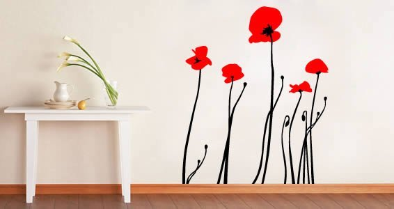 Poppies Flower wall decals