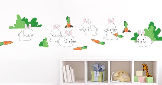 Rabbits in the Prairie wall decals