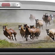Horses Racing see through car decal