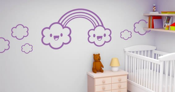 Rainbow and Happy Clouds wall decals