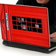 Red Booth laptop decals skin