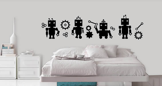 Busy Robots wall decal pack