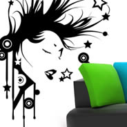 Rock hair vinyl wall stickers