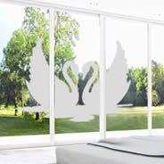 Swans Frosted vinyl window decals