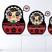 Russian Dolls vinyl wall decals by Charuca