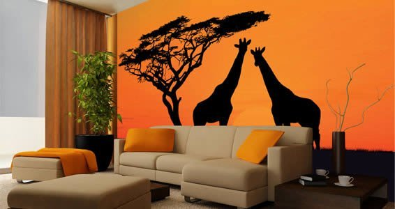 Savanah wall mural dezign with a z for African sunset wall mural