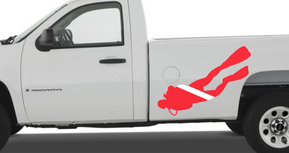 Scuba Diver flag car decal