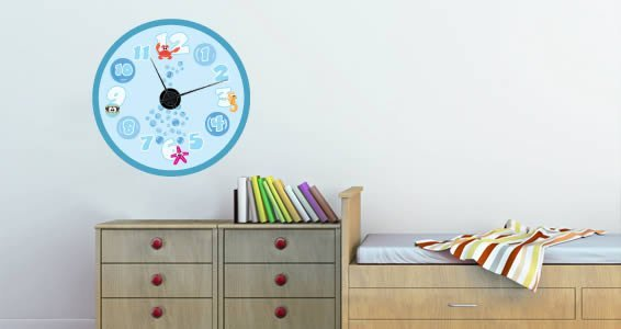 Sea Creatures clock wall decal (with mechanism)
