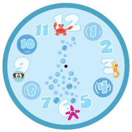 Sea Creatures clock wall decal