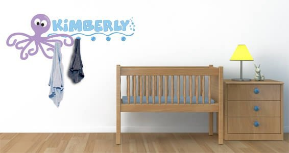 Personalized Sea Creatures wall decals coat rack