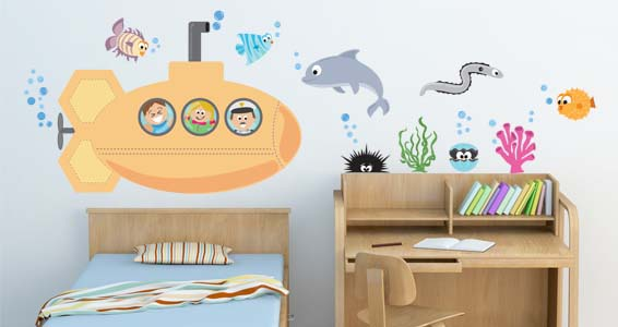 Sea Creatures III wall decals