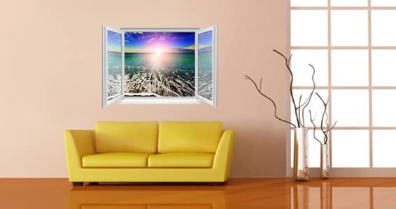 Ocean Seashore Faux Window Murals