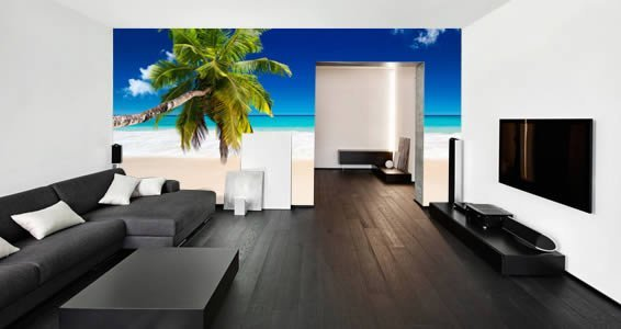 Palm tree beach wall murals Dezign With a Z