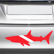 Shark Scuba flag car decal