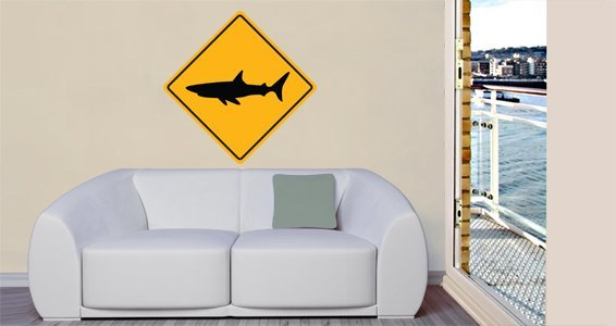 Shark Sign Wall Decals