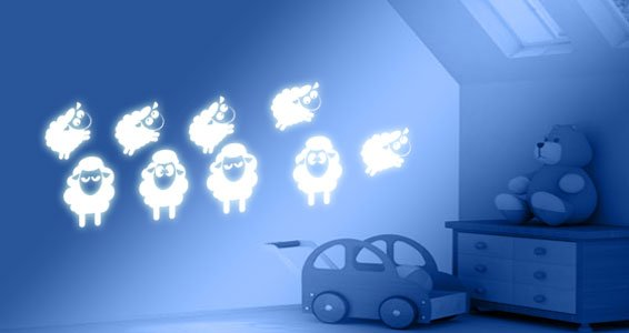Counting Sheep glow in the dark wall stickers