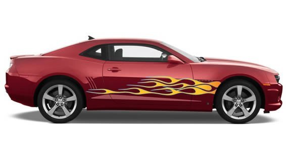 Ice Side Flames car decals