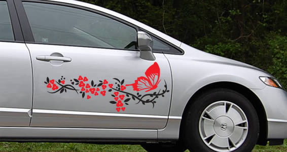 Bicolor flowers and butterfly car decals