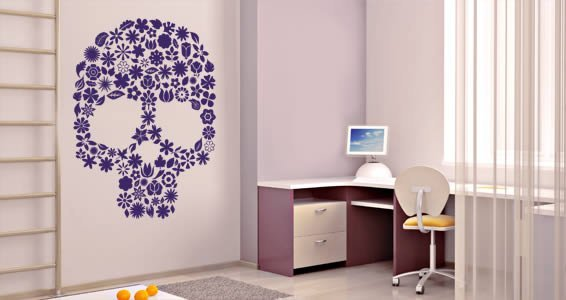 Blossom skull wall decals