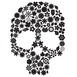 Skull In Bloom wall decals