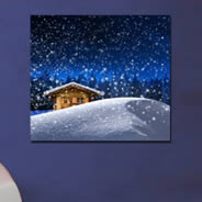 Snowy Cabins wall canvas
