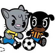 Cat and Dog Soccer Game kids wall decals