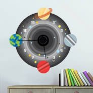 Space Adventure  clock wall sticker