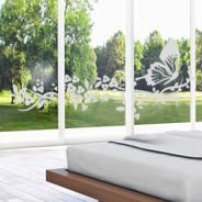 Butterfly Flower frosted window decals