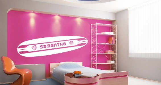 Custom Lettering Surfboard wall decal