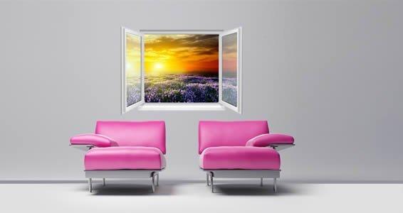 Lavender Sunset Faux Window Murals