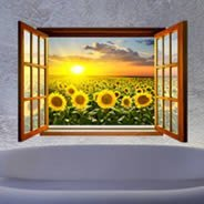 Sunflower Sunset Fields Faux Window