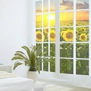 Sunset Flowers Fields see through window decals