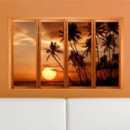 Palm Beach Sunset Fake Window Murals