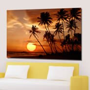 Sunset digital picture on artist canvas