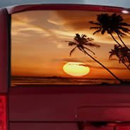 Sunset see through car window decal