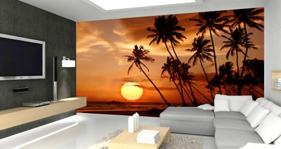 Murals decals wall painting on pinterest for Beach sunset wall mural