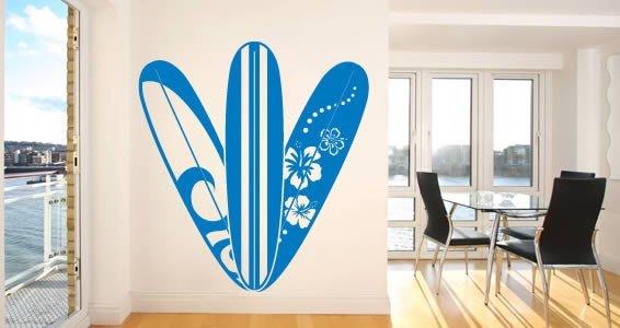 Hawaii Surfboard wall decals
