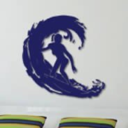 Surfer Dudette wall applique