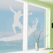 Surfer frosted window decals