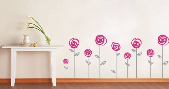 Swirl Poppies wall decals  sc 1 st  Dezign With a Z & Swirl Poppies wall decals | Dezign With a Z