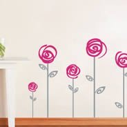 Swirl Poppies vinyl wall decals