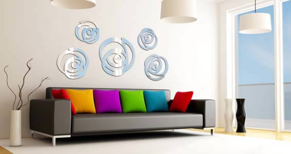 Swirls acrylic wall mirrors