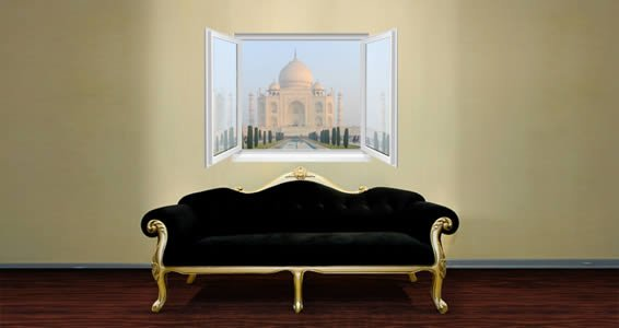 Taj Mahal Faux Window Murals