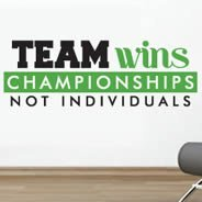 Team Wins Bicolor quote decal